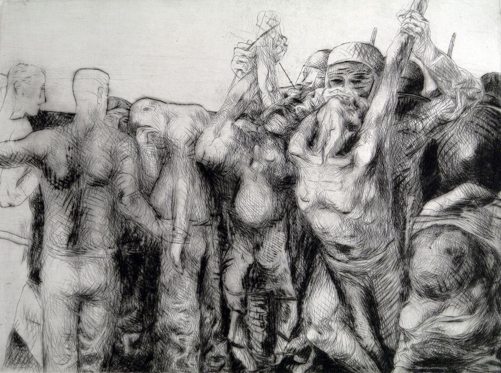 "Art from the GDR/Leipzig School. ""Die Internationale"", 1978. Etching by  Rolf KUHRT"