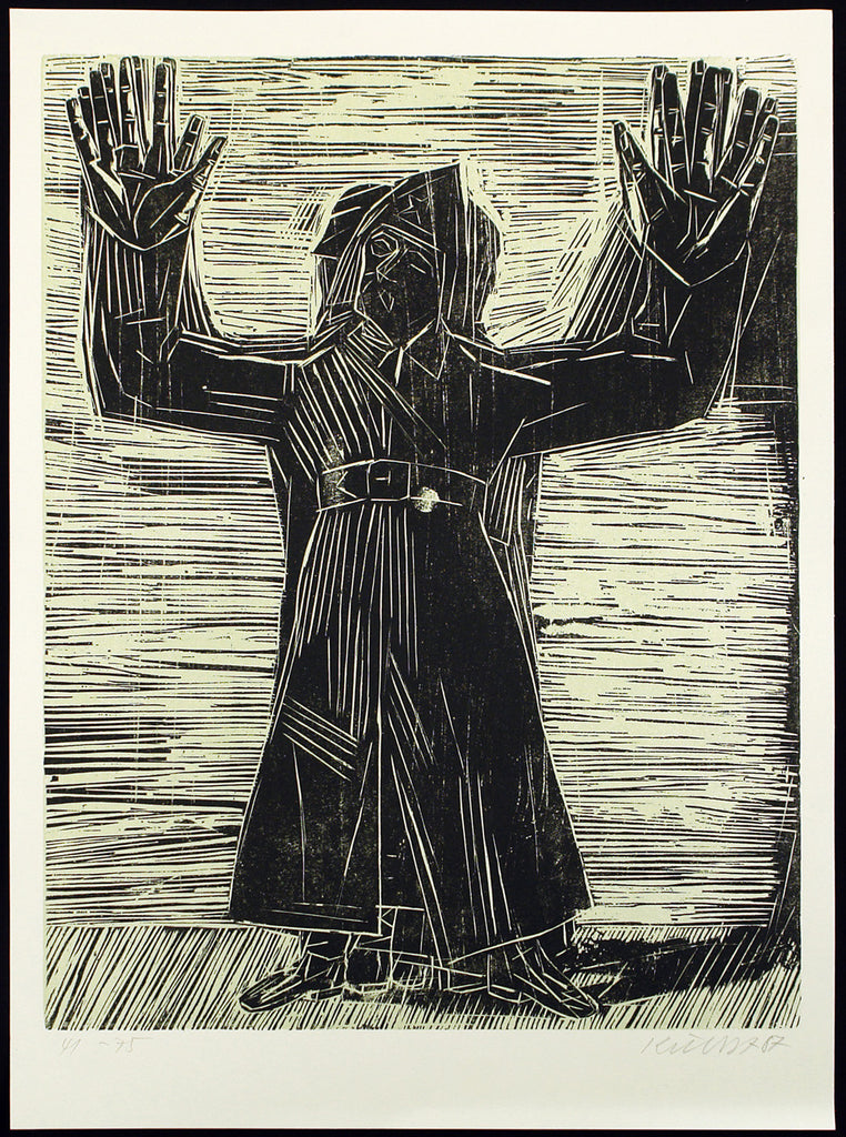 "Art from the GDR/Leipzig School. ""Sofort Frieden"", 1987. Woodcut by Rolf KUHRT"