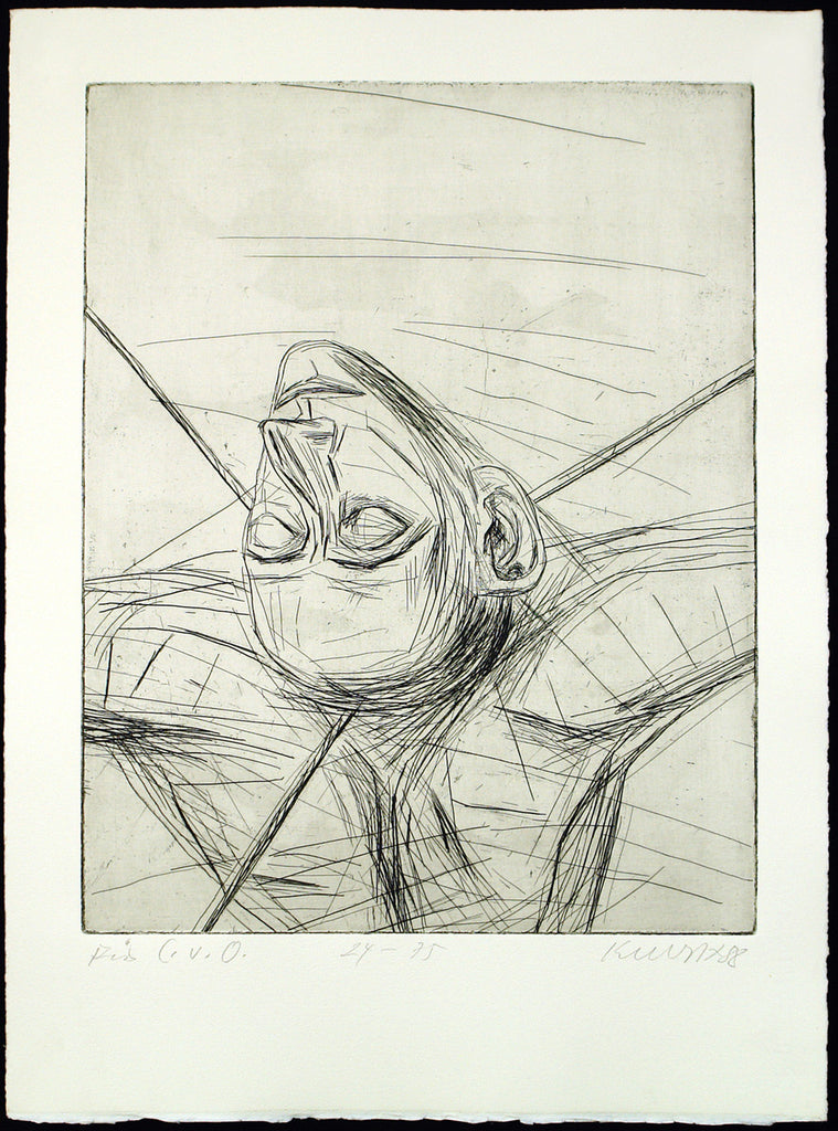 "Art from the GDR/Leipzig School. ""Für C.v.O."", 1988. Etching by Rolf KUHRT"