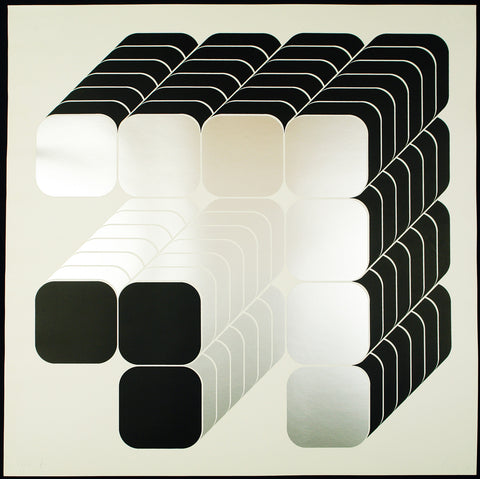 Op-art. Geometric composition, 1970. Serigraph by Thomas LENK