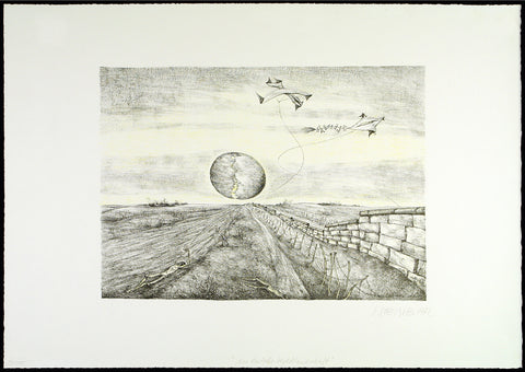 """Eine deutsche Herbstlandschaft"", 1972. Re-worked lithograph by Roger LOEWIG"