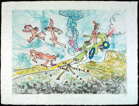 """Les Oh! Tomobiles"", 1972. Aquatint (re-worked) by Roberto MATTA"