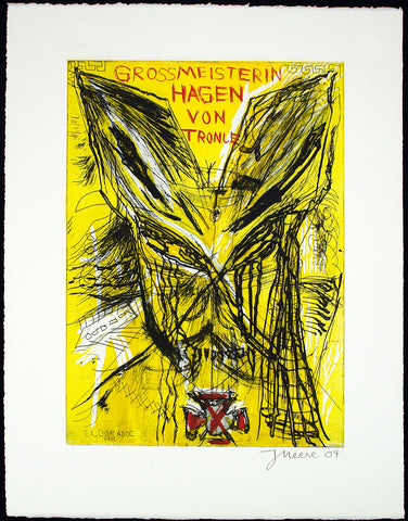 """Grossmeisterin Hagen von Tronje"", 2004. Mixed media print by Jonathan MEESE"