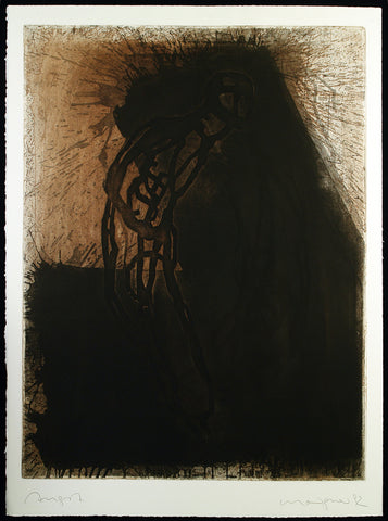 "Art in the GDR/Post-Wendezeit. ""Angst"", 1992. Aquatint by Michael MORGNER"
