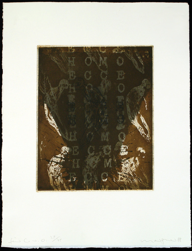 "Art from the GDR. ""Für C.v.O."", 1988. Etching and embossing print by Michael MORGNER"