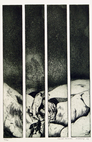 """Streifengeburt"", 1969. Aquatint by Maina-Miriam MUNSKY"