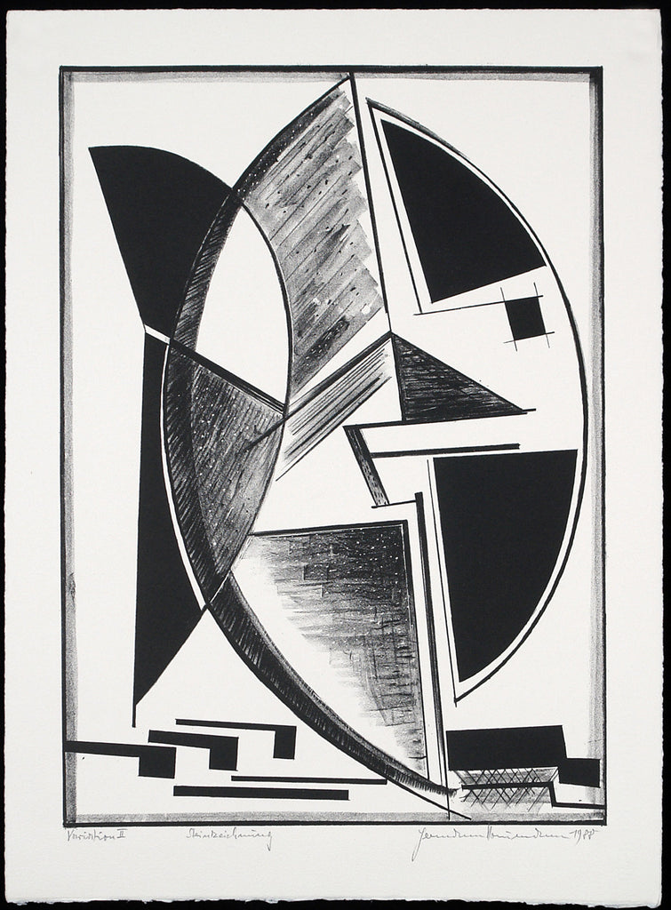"Art from the GDR. ""Variation II"", 1988. Lithograph by Hermann NAUMANN"