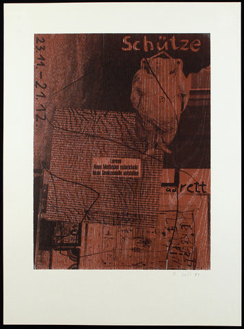 """Schütze"", 1985. Mixed media print by Albert OEHLEN"
