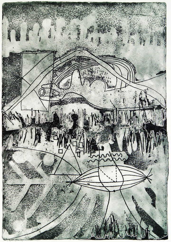 """Heliotropismus"", 1969. Etching and embossing print by Kees OKX"