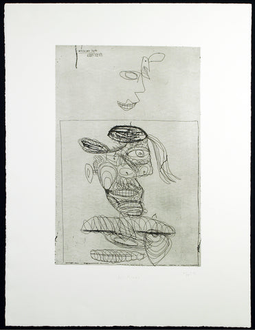 "Art in the GDR/Post-Wendezeit. ""Für Picasso"", 1993. Etching by Pipi PALOMA"