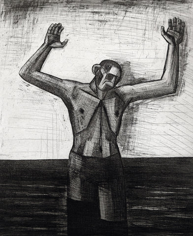 "Art from the GDR. ""Gehender"", 1987. Aquatint by Nuria QUEVEDO"