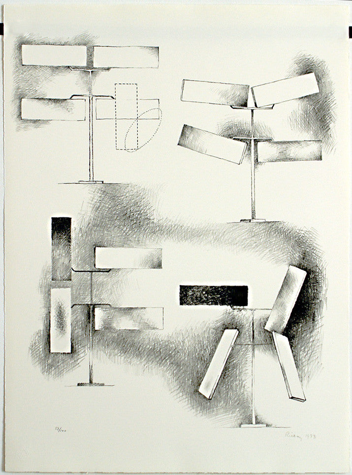 """Four rectangles"", 1973. Lithograph by George RICKEY"