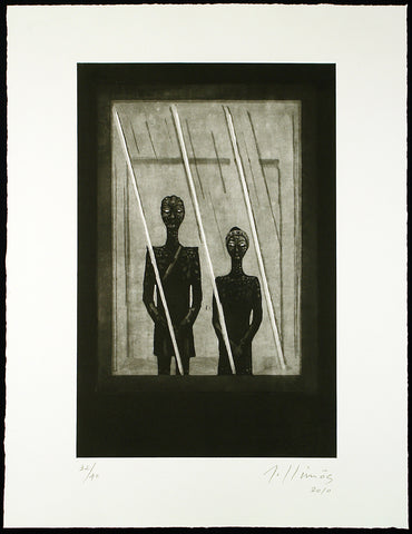 """Dos forasteros"", 2010. Etching by Robert LLIMOS"