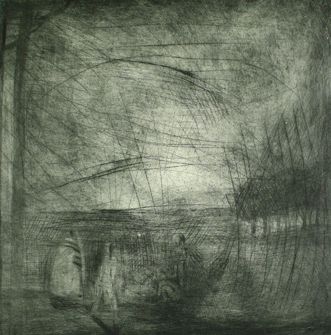 Art from the GDR. Untitled (night scenery), 1976. Aquatint by Heinrich TESSMER