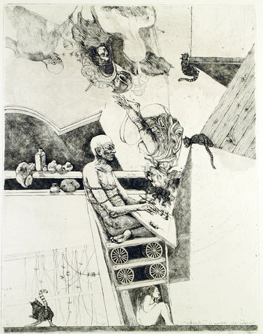 """Der Traum"", 1973. Etching by Markus VALLAZZA"