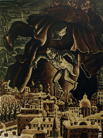 "Art from the USSR. ""Der Mantel"", 1976. Lithograph by Victor Semenovich VILNER (вильнер виктор семенович)"