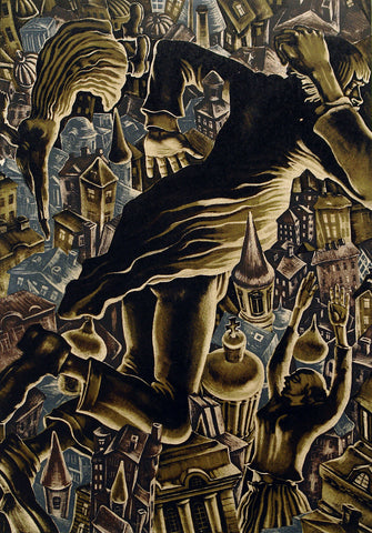 "Art from the USSR. ""Der Sturz"", 1976. Lithograph by Victor Semenovich VILNER (вильнер виктор семенович)"