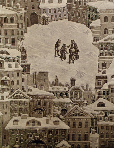"Art from the USSR. ""Winternacht"", 1976. Lithograph by Victor Semenovich VILNER (вильнер виктор семенович)"