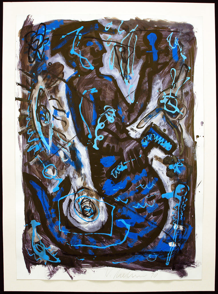 Art from the GDR. Untitled, 1990. Gouache by Volker MEHNER
