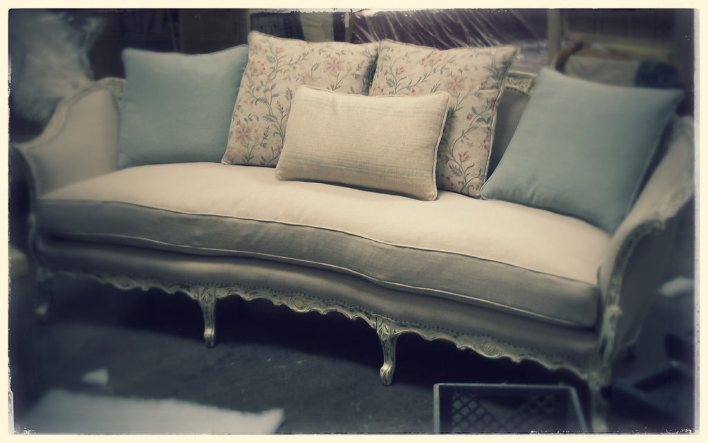 Upcycled French Sofa with Multiple Pillows