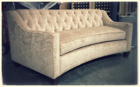 Custom Kidney Shaped Sofa with Tufted Inside Back