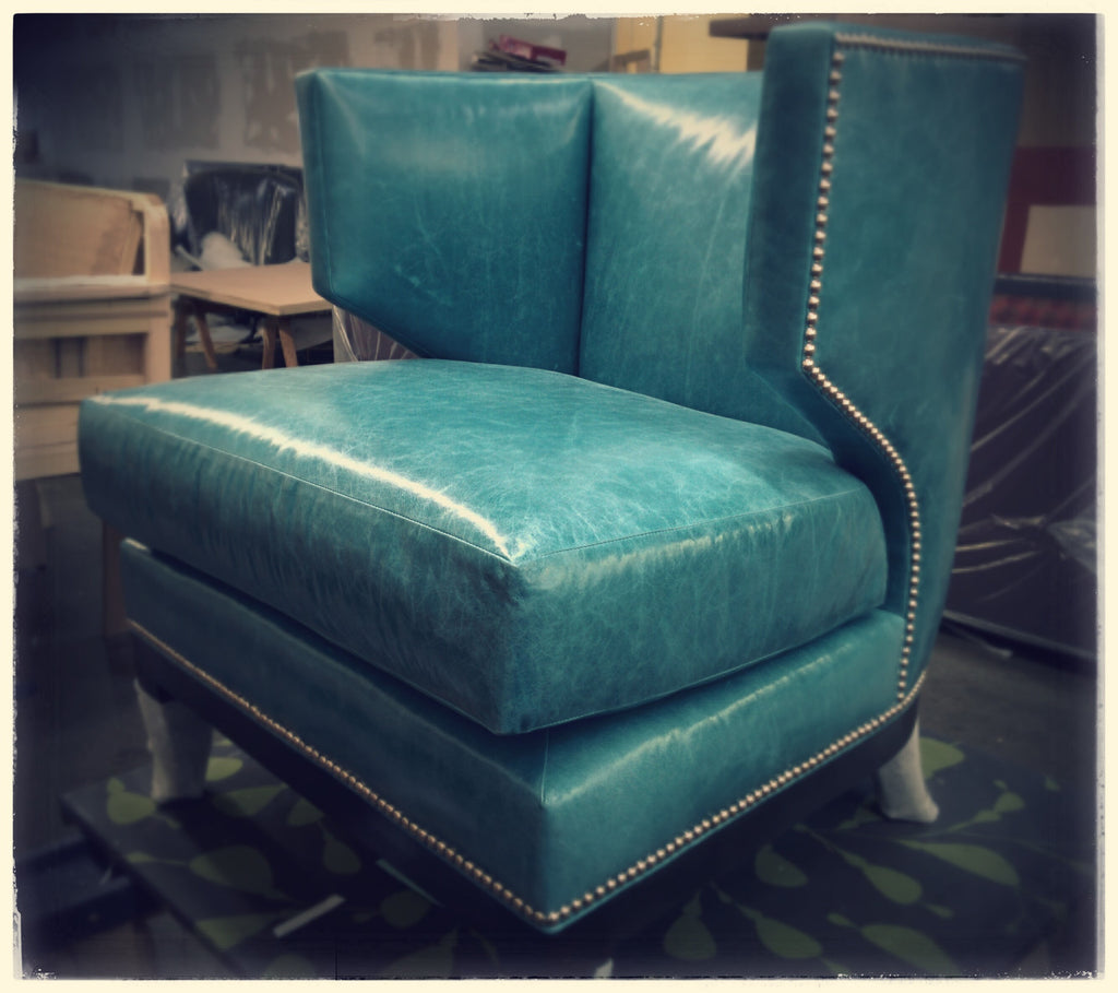 Turquoise Leather Modern Lounge Chair, with Polished Chrome Nail Trim