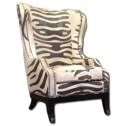 Zebra Print Wing-Back Chair