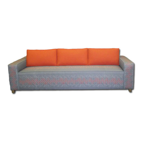 Grey and Orange Patterned Sofa
