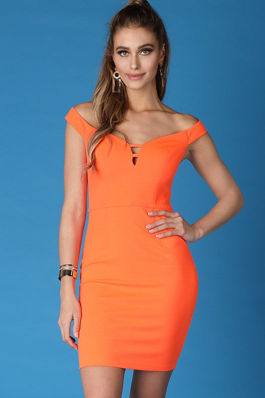 Cross Back Off Shoulder Bodycon Dress