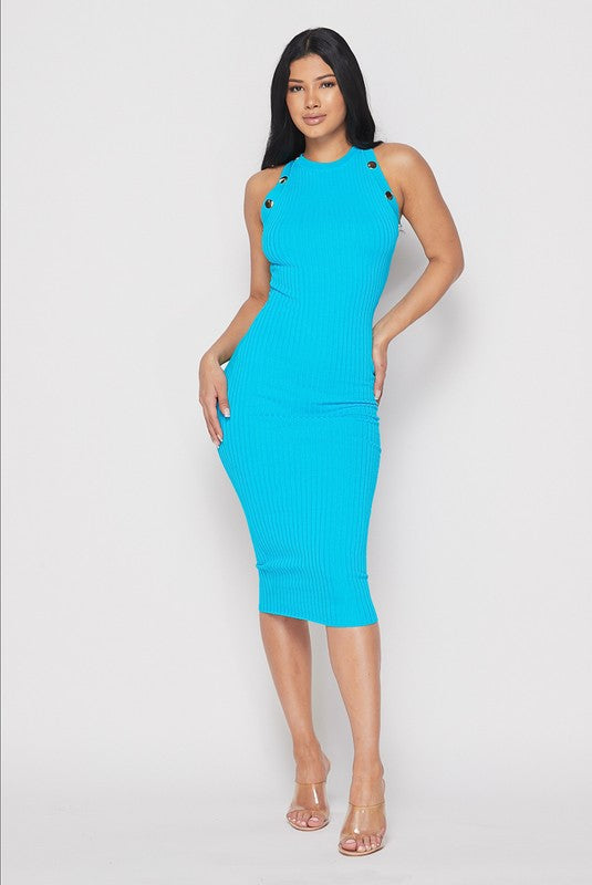 Blue Midi Ribbed Dress