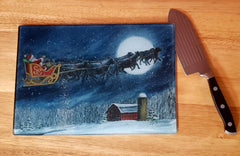 Christmas Cutting/Serving  Board ( Santa's  Ride)