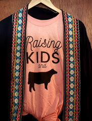 T- Shirt.. RAISING COWS AND KIDS.. Unisex adult size