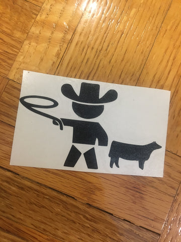 Decal 15w/Vinyl- Baby/Infant Boy with Heifer