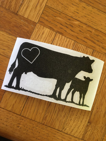 Decal-Vinyl- 104a- Cow/Calf w/ Heart