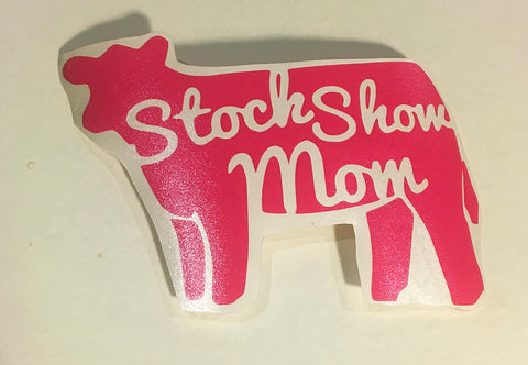 Decal 8w/Vinyl- Stock Show Mom-Hot Pink