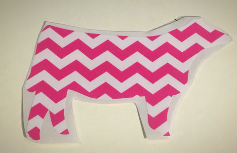 Decal 12b/Vinyl-Pink Chevron Heifer