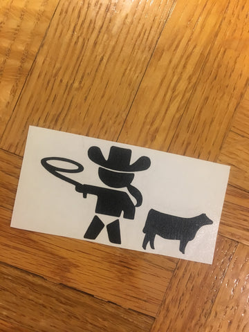 Decal/Vinyl- Baby/Infant Cowgirl with Heifer