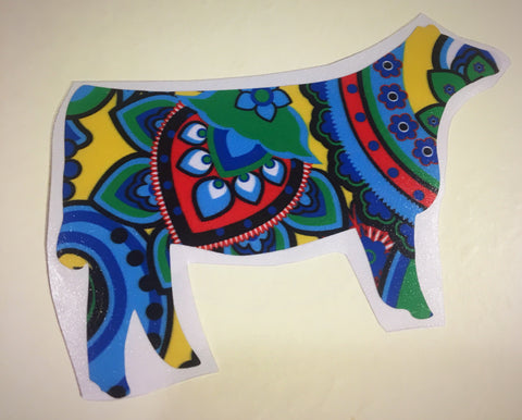 Decal/Vinyl -Blue/Red/Yellow Paisley Heifer