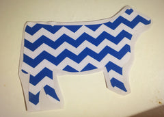 Decal 13b/Vinyl -Blue Chevron Heifer