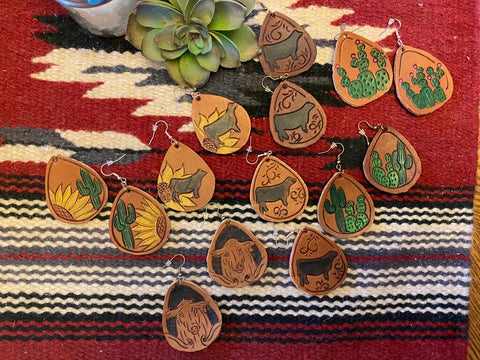 Leather tooled  earrings