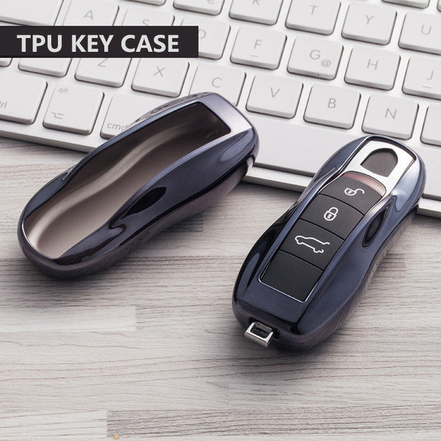 Soft TPU Car Key Cover For Porsche Cayenne 911 996 Panamera Macan Keyless