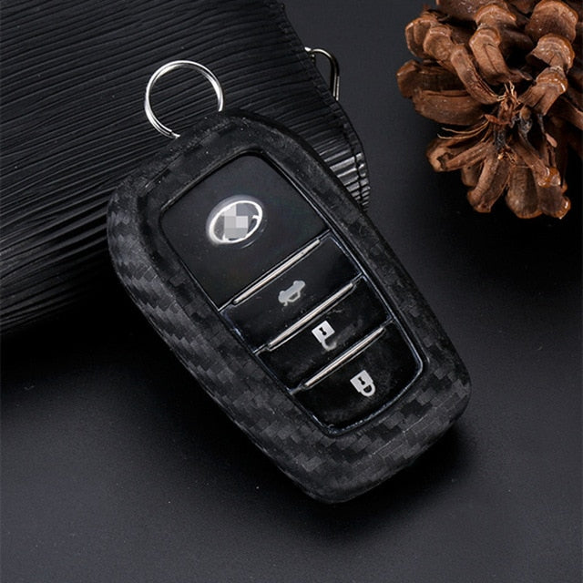 Carbon Fiber Silica Key Cover For Toyota Camry Highlander Prado Crown Rav4