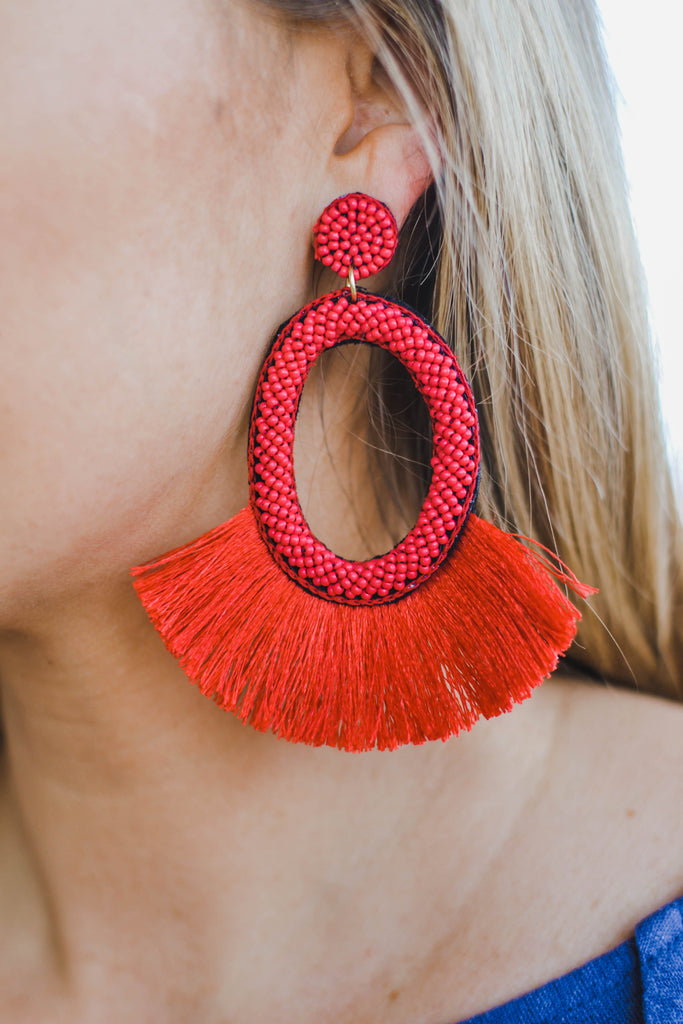 Oval Away Earrings- Red