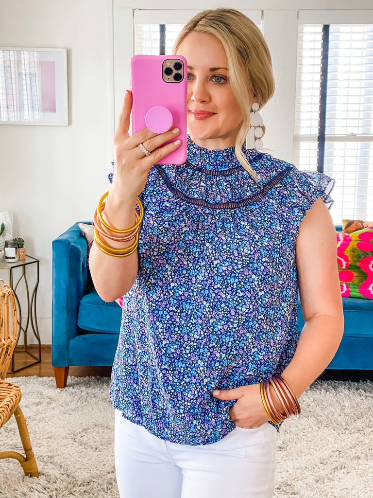 Sunday Morning Top- Navy Floral