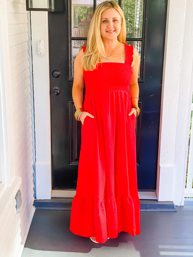 Summertime Bliss Maxi Dress- Red