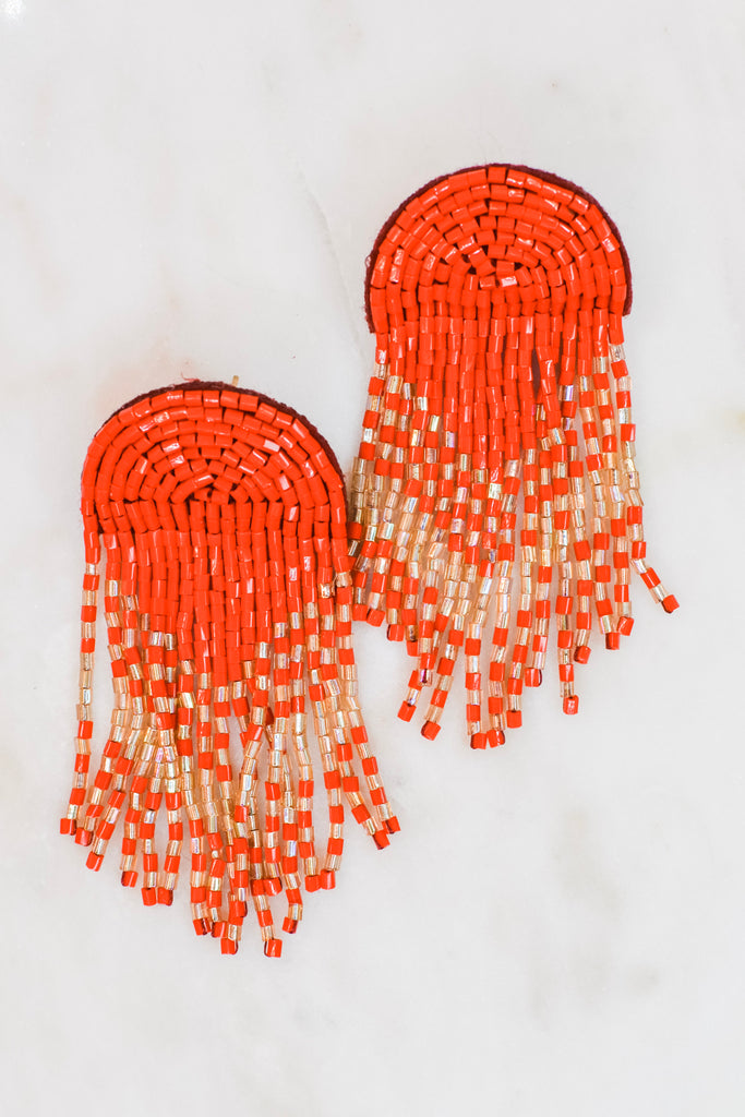 Rain Down Earrings- Red