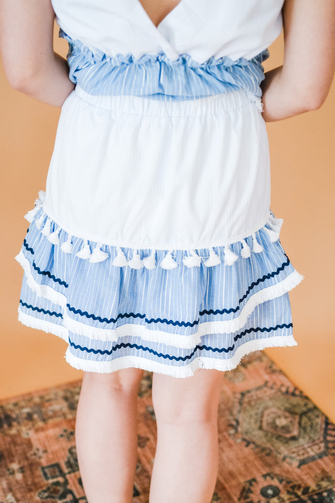 Josie Mini Skirt- Blue - Pomp & Circumstance