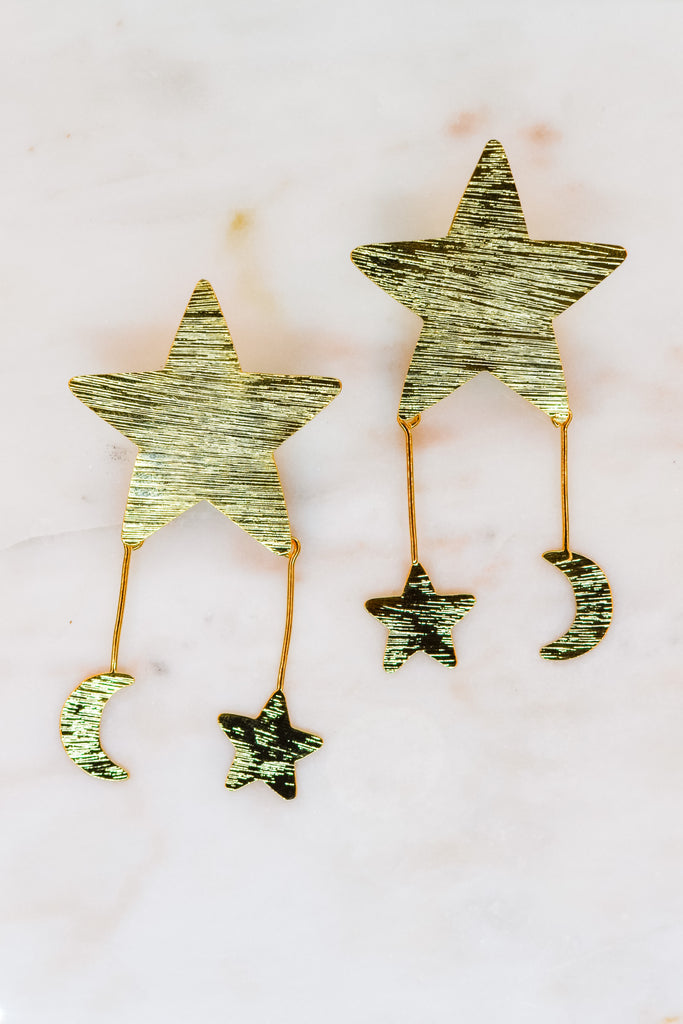 Star Moon Gold Plated Earrings- Small