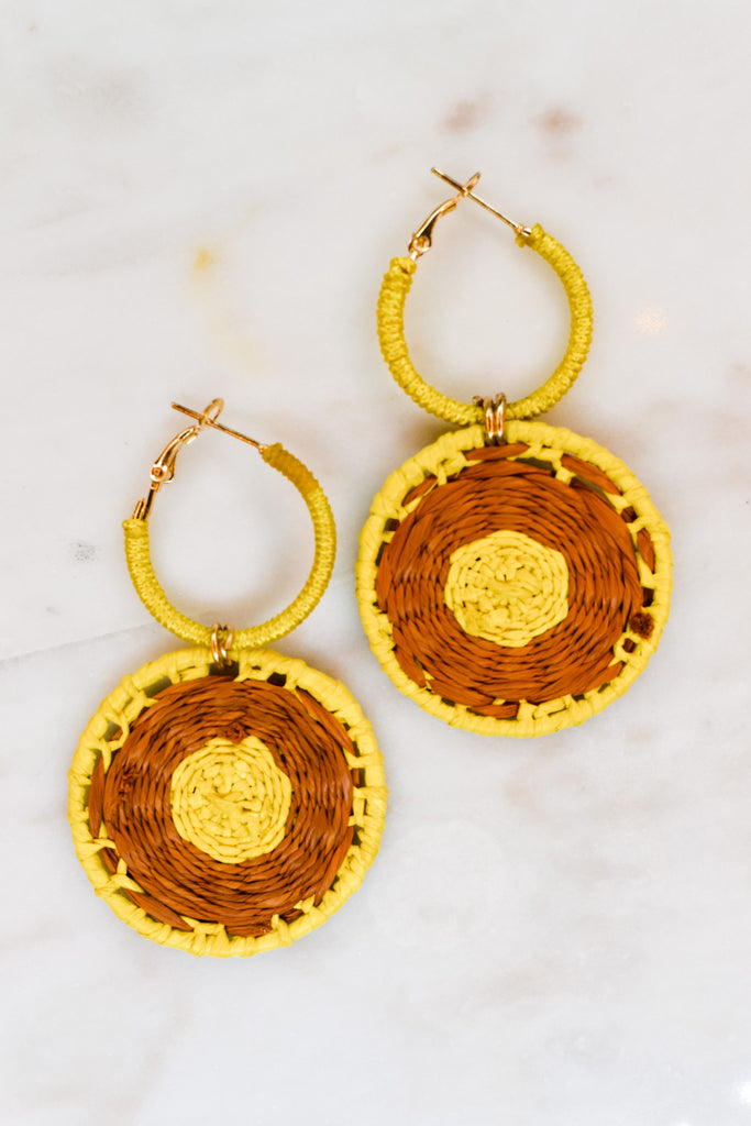 Jump Through Hoops Earrings- Yellow