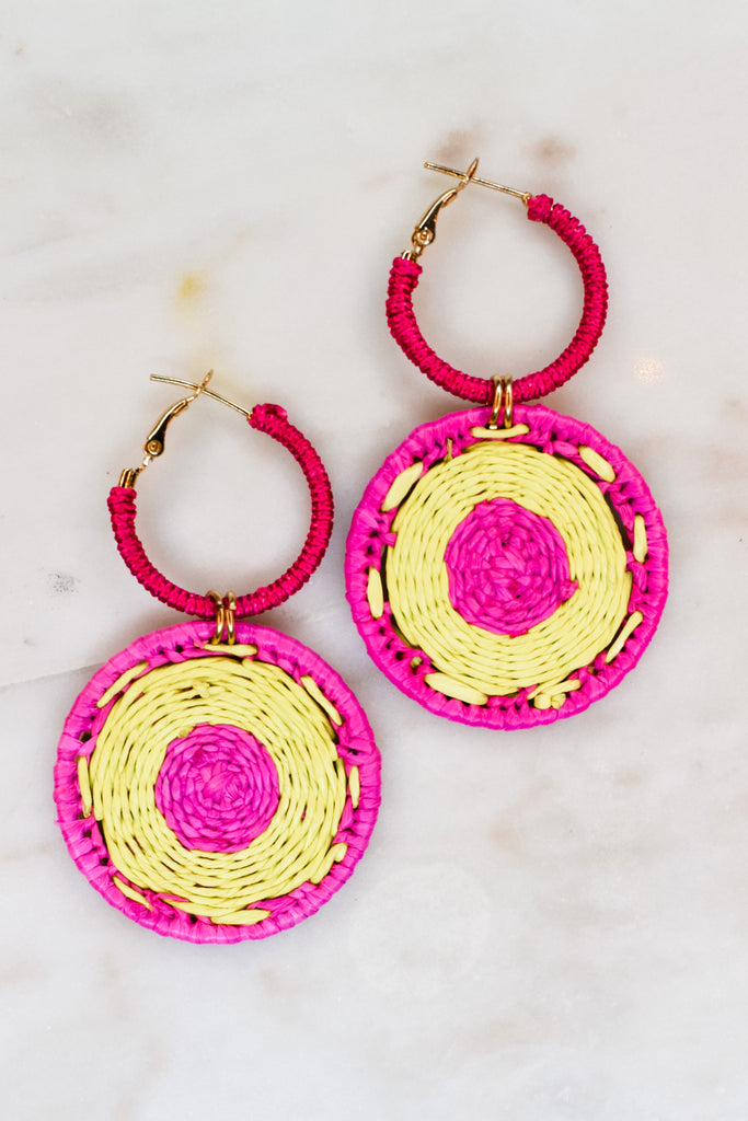 Jump Through Hoops Earrings- Fuschia